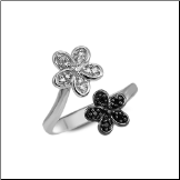 925 Sterling Silver CZ Black Clear Flowers Toe Ring