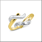 14KT Yellow and White Gold Toe Ring Band Triple CZ