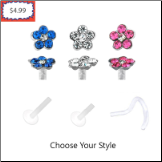**BLOW OUT SALE** Bioflex Nose Screw -Choose Your Gauge & Color 4.5mm Flower