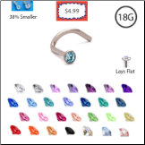 **BLOW OUT SALE** Titanium 1.5mm Gem Choose Your Style, and Color 18G
