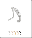 316L Surgical Steel Nose Hugger Triple CZ -Choose Your Style 20G