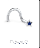 316L Surgical Steel Nose Stud Navy Star 20G