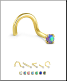 18KT Yellow Gold 2mm Synthetic Opal Choose Your Style and Color 20G