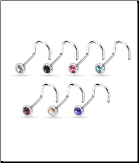 7 Pack 316L Surgical Steel Nose Screw Stud Ring 2mm Bezel CZ - Choose Your Gauge