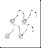 4 Pack 316L Surgical Steel Nose Screw Stud Ring 3mm CZ - Choose Your Gauge