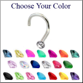 **BLOW OUT SALE** Titanium Nose Screw 2mm Gem - Choose Your Color 18G