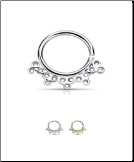 "925 Sterling Silver Seamless Septum Ring Indian Design 5/16"" 18G"