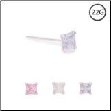 925 Sterling Silver Straight or L Bend Nose Stud -Choose Your Color 2mm Square 22G