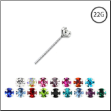 925 Sterling Silver Straight Nose Stud 2.5mm Gem 22G