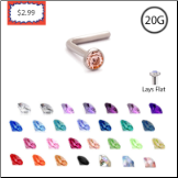 **BLOW OUT SALE** Surgical Steel L Bend 2.35mm Gem - Choose Your Color 20G