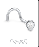 18K Solid White Gold Nose Screw Tear Drop -Choose Your Style 20G