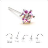 14KT Solid White Gold Nose Stud 4.5mm Pink Aurora AB Flower