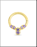 14KT Yellow Gold Septum Clicker Helix Ear Cartilage Amethyst Nose Ring 16G