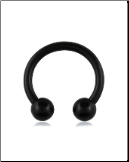 "**BLOW OUT SALE** Black 316L Surgical Steel Anodised Curved Barbell CBB Nose Ring Horseshoe Hoop 1/4"" 22G"
