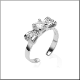 925 Sterling Silver Toe Ring Bow Solitaire