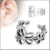 Fake Ear Cuff Clip On Non Piercing Ear Cartilage Ring Hoop Flower