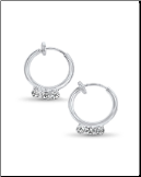 "**BLOW OUT SALE** Spring Loaded Fake Earrings 3/8"" Clip On Triple CZ"