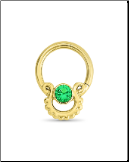 14KT Yellow Gold Septum Clicker Helix Ear Cartilage Emerald Nose Ring 16G