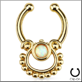 **BLOW OUT SALE** Fake Septum Clicker Hanger Clip On Non Piercing Gold Plated White Opal Nose Ring Hoop Indian
