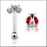 925 Sterling Silver Nose Bone 2.5mm Lady Bug Open Wing