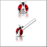 925 Sterling Silver Nose Studs Pins Straight or L Bend Lady Bug Open Wing