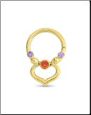 14KT Yellow Gold Septum Clicker Helix Ear Cartilage Padparadscha + Purple Nose Ring 16G
