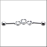 "**BLOW OUT SALE** Industrial Scaffold Barbell 3 Heart CZ Stones Ear Cartilage 1 3/8"" 14G"