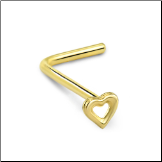 14KT White or Yellow Gold Nose Stud Hollow Heart - Choose Your Gold, Gauge & Style