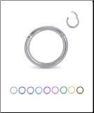 Titanium Hinged Segment Nose Ring Hoop 5/16 7.9mm Choose Color 16G 14G