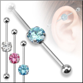 "**BLOW OUT SALE** Ear Cartilage Industrial Scaffold Barbell 8mm Round CZ 1 1/2"" 14G"