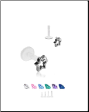 Bioflex Labret Style Push Pin Nose Stud or Nose Screw 3.5mm Star 18G 16G
