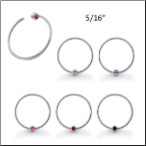"**BLOW OUT SALE** Nose Ring Hoop 925 Sterling Silver 5/16"" Choose Your Color 20G"