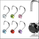 925 Sterling Silver Nose Screw Round 3mm CZ 20G