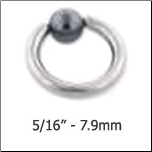 "**BLOW OUT SALE** Nose Ring Surgical Steel 5/16"" 7.9mm Hematite Ball 18G"