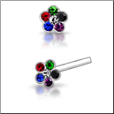 925 Sterling Silver Nose Studs Pins Straight or L Bend Multi Colored Flower