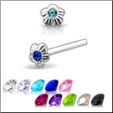**BLOW OUT SALE** 925 Sterling Silver Nose Studs Pins Straight or L Bend Flower Gem