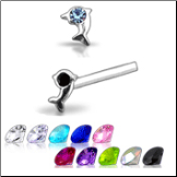 925 Sterling Silver Nose Studs Pins Straight or L Bend  Dolphin CZ