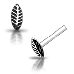 925 Sterling Silver Nose Stud Straight or L Bend Silver Leaf Feather
