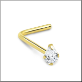 14KT White or Yellow Gold Nose Stud Pear CZ - Choose Your Gold, Gauge & Style