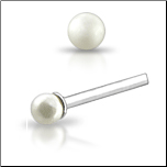 925 Sterling Silver Nose Studs Pins Straight or L Bend 2mm Pearl
