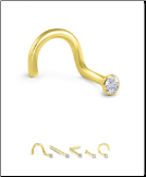 24KT Gold Nose Stud 1.5mm Bezel Set CZ 20G