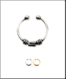925 Sterling Silver Fake Septum Clicker Hanger Clip On Nose Ring Hoop Balinese Wire - Choose Your Color