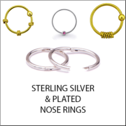 925 Sterling Silver and Plated Nose Rings