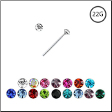 925 Sterling Silver Straight Nose Stud Tiny Micro 1mm Gem 22G