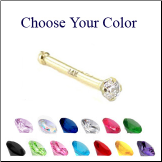 **BLOW OUT SALE** 14KT Gold Nose Bone -Choose Your Color 1.5mm CZ 20G