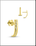 14KT Yellow Gold Labret Style Nose Stud Genuine Diamonds 16G