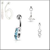 "**BLOW OUT SALE**  316L Surgical Steel Navel Belly Button Ring Body Charm Holder Clear 3/8"" 2 Charms included! 14G"