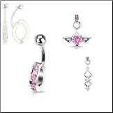 "**BLOW OUT SALE**  316L Surgical Steel Navel Belly Button Ring Body Charm Holder Clear 3/8"" Pink Charms 14G"