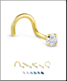 Yellow Gold Nose Jewelry 3mm Round CZ -Choose Your Style
