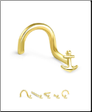 14KT Yellow Gold Nose Stud Anchor - Choose Your Gauge & Style